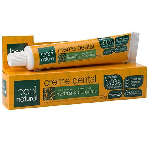 Creme Dental Boni Natural Hortela e Curcuma 90g