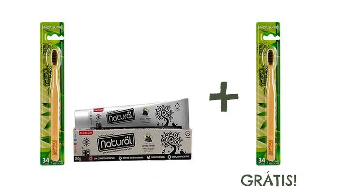 Escova Natural Bambu e Carvão e Gel Dental Natural de Carvão 80g + BRINDE!