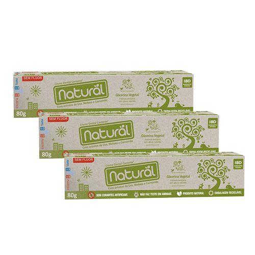 Kit com 3x Cremes Dentais Suavetex Naturais com ingredientes orgânicos e naturais 80g