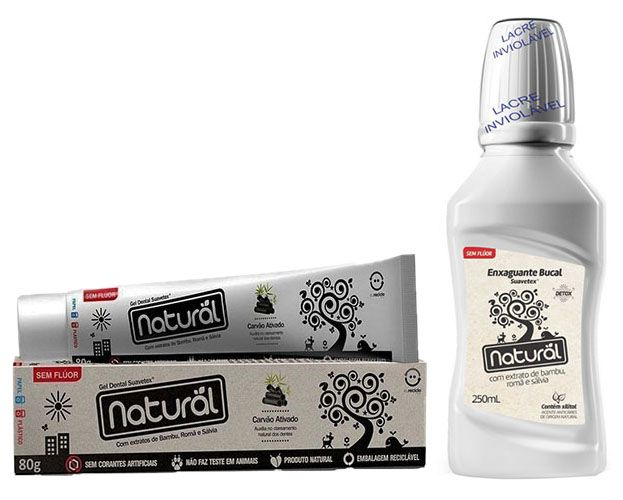 Kit Creme Dental de Carvão + Enxaguante Bucal Bambu, Romã e Sálvia