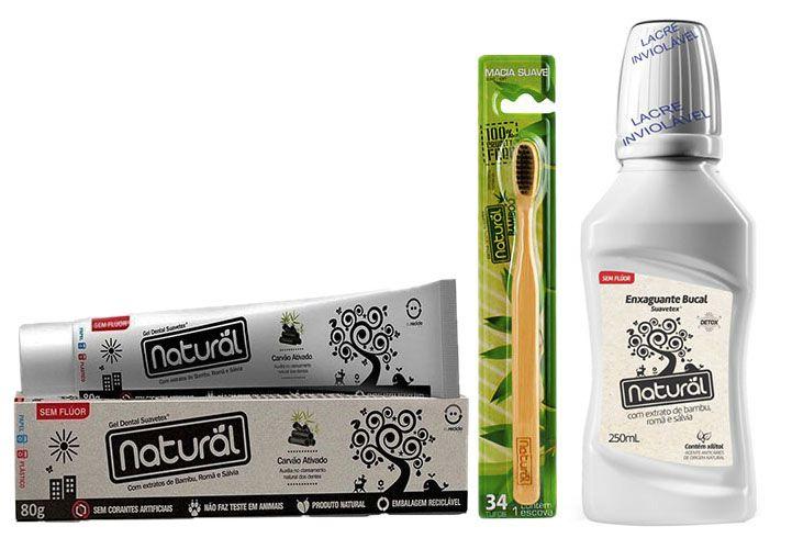 Kit Creme Dental de Carvão + Enxaguante Bucal de Bambu + Escova de Bambu - Orgânico Natural