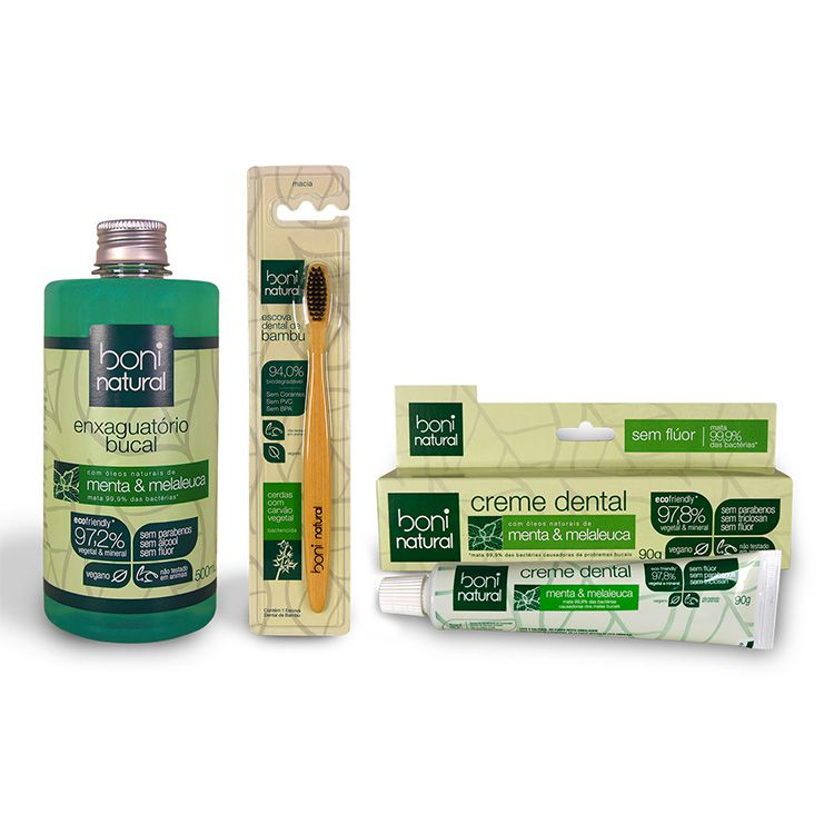 Kit Enxaguatório + Creme Dental + Escova Dental - Boni Natural