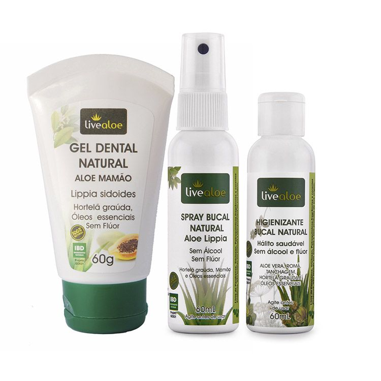 Kit: Gel Dental Natural Mamão, Higienizante Bucal, Spray Bucal Aloe Lippia