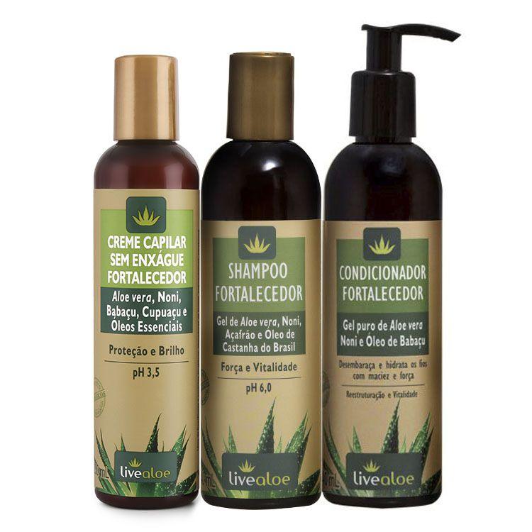 Kit Shampoo + Condicionador + Creme Capilar Fortalecedor - Live Aloe