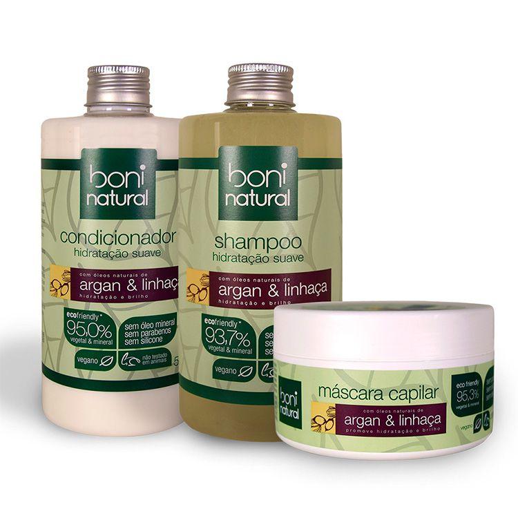 Kit Shampoo + Condicionador + Máscara Capilar - Boni Natural
