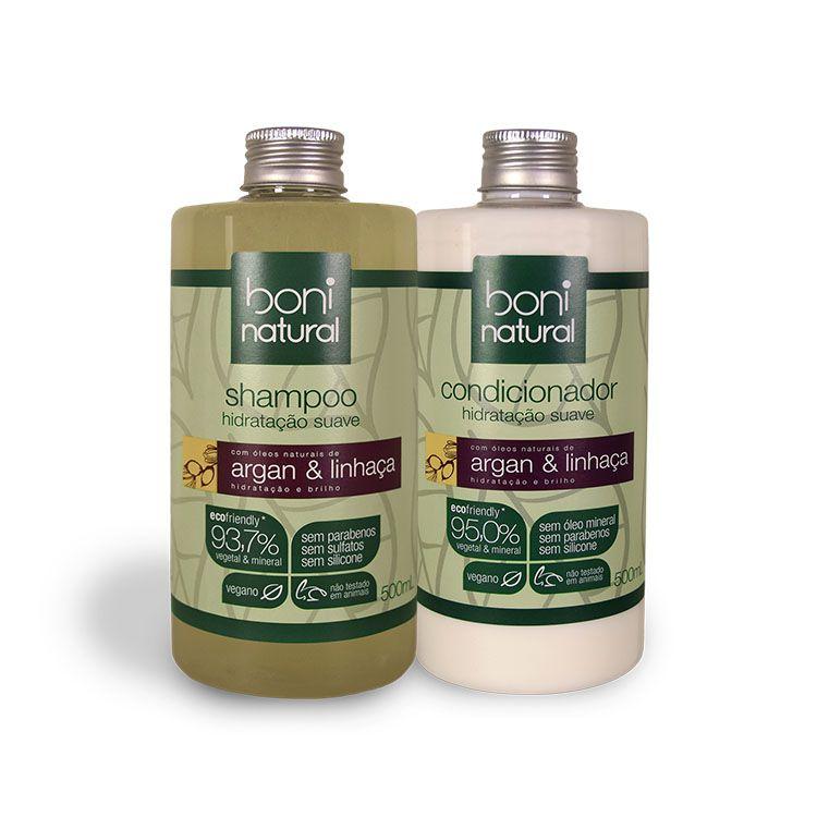 Kit Shampoo e Condicionador de Argan e Linhaça - Boni Natural