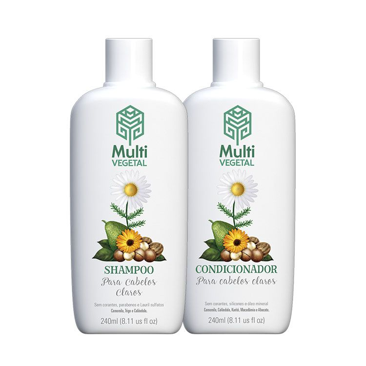 Kit Shampoo e Condicionador de Camomila Para Cabelos Claros - Multi Vegetal