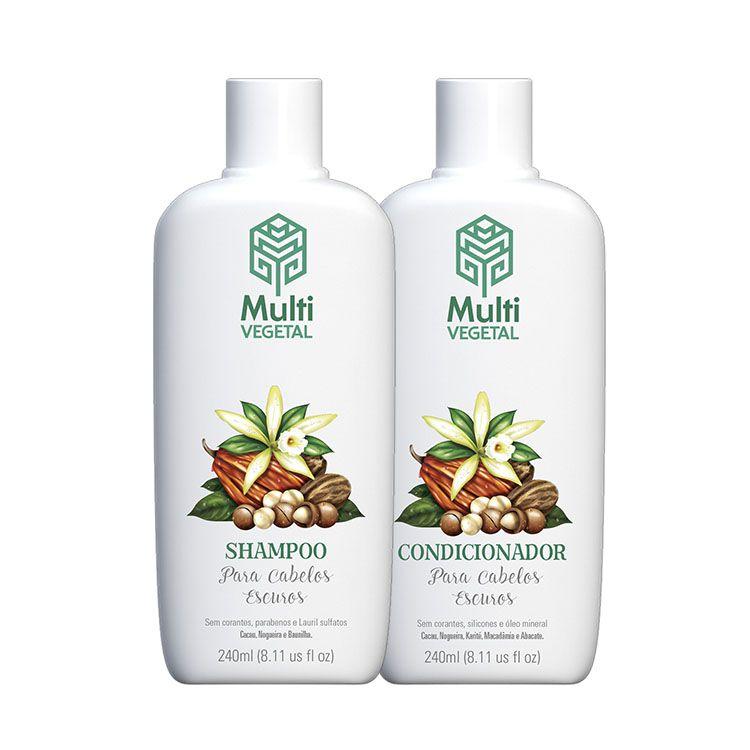 Kit Shampoo + Condicionador de Nogueira Para Cabelos Escuros - Multi Vegetal