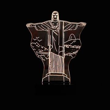 ABAJUR DE MESA LED EM ACRÍLICO 3D CRISTO REDENTOR, RIO DE JANEIRO 110/220V