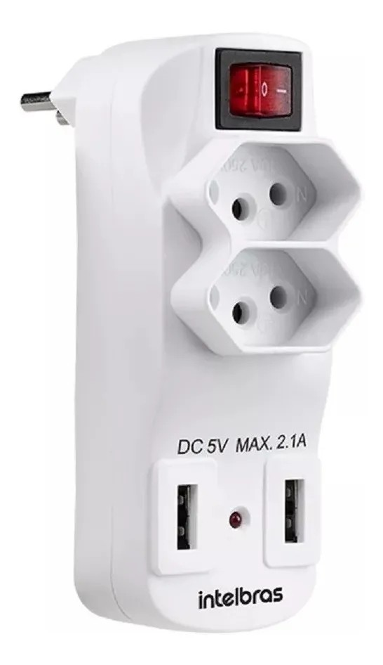 ADAPTADOR DE 2 TOMADAS E 2 USB - EAC 1002 INTELBRAS