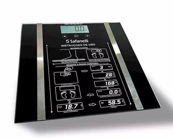 Balança Digital Banheiro Academia 150kg Preta Safanelli