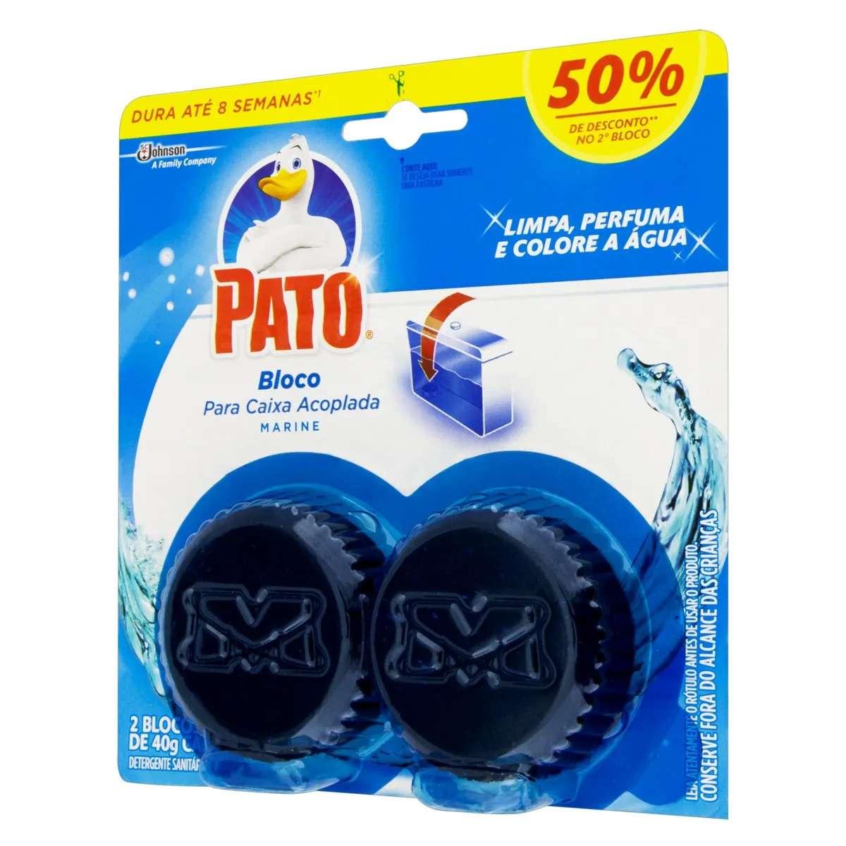 Detergente Bloco Sanitário P/ Caixa Acoplada Marine Pato 40g Cada 2 Unidades Grátis 50% de Desconto no 2° Bloco
