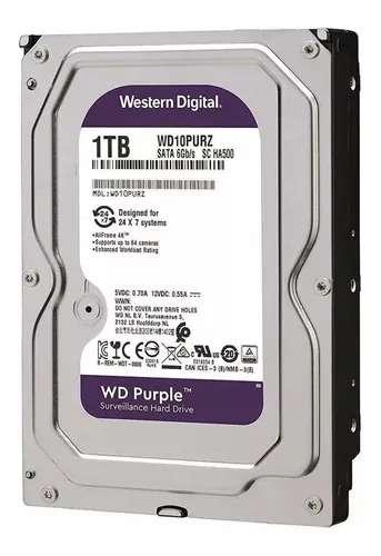Disco Rígido WD Purple 1 TB Para CFTV Intelbrás