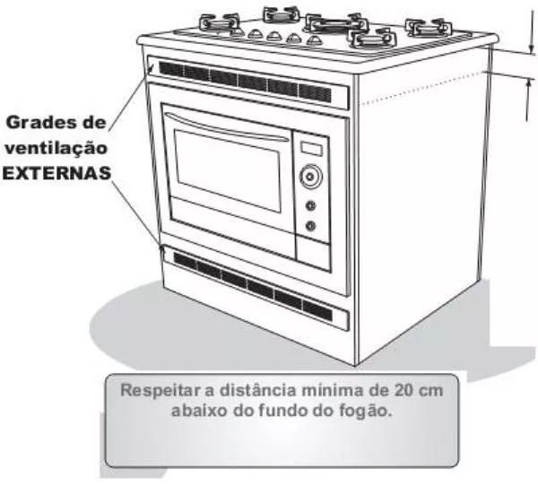 Grade De Ventilação Forno De Embutir BRANCA 60 cm Safanelli