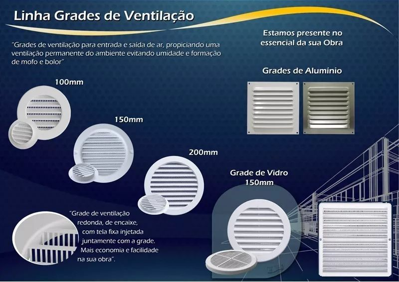 Grade De Ventilação Quadrada 25x25 Cm Com Tela GQ2525 ITC