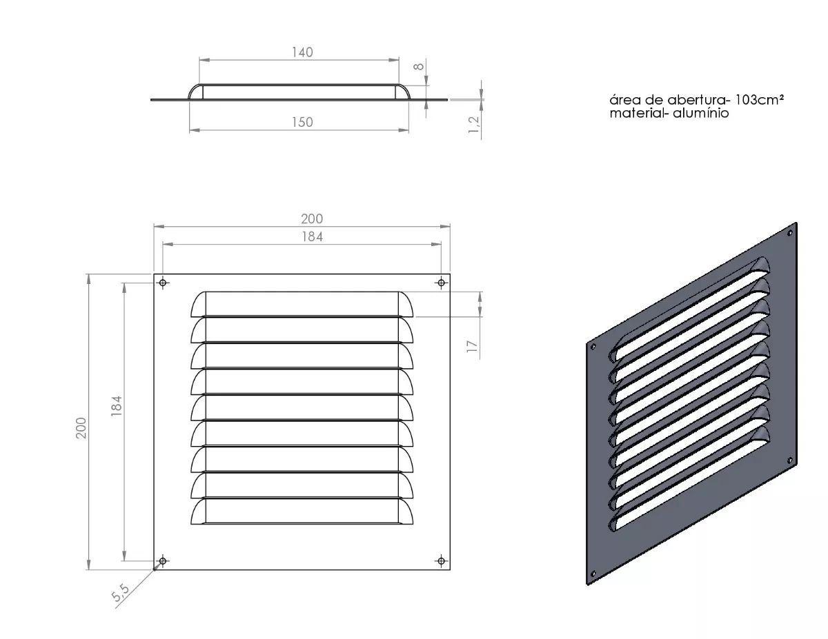 Grade De Ventilação Quadrada Alumínio 20x20 cm ITC