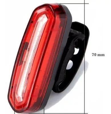 Lanterna Pisca Sinalizador Traseiro Bike USB LED 3 Cores 70 Lumens