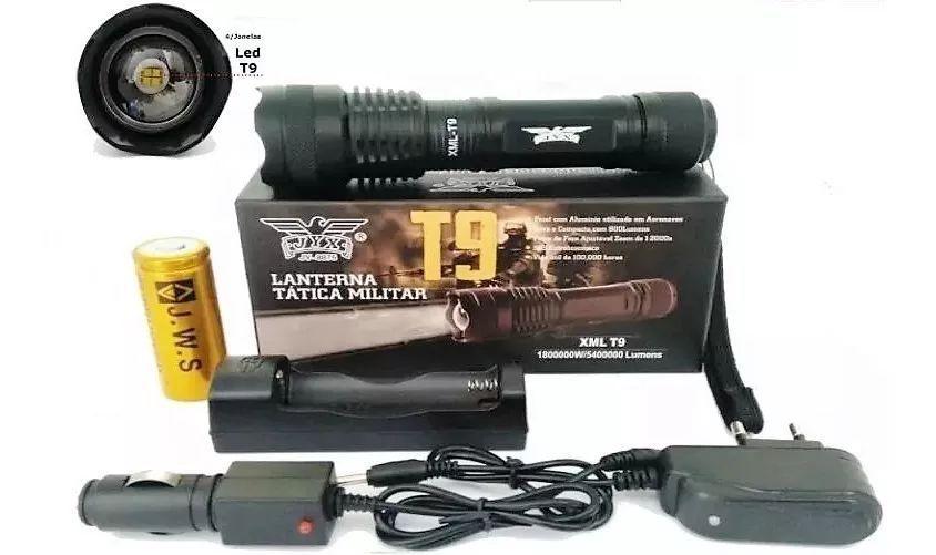 Lanterna Tatica Led Cree T9 Recarregável Com Zoom