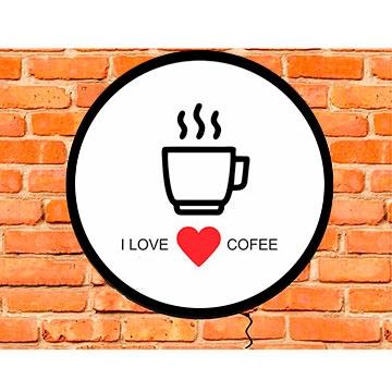 LUMINOSO DE PAREDE EM ACRÍLICO 30CM LOVE COFFEE 542333