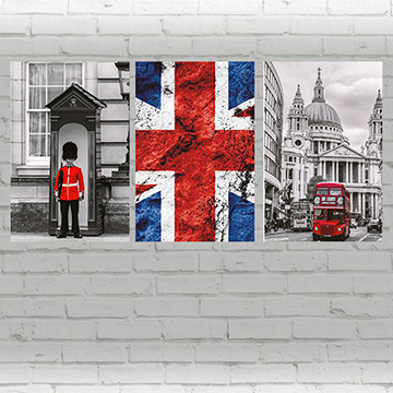 QUADRO DECORATIVO EM ACRÍLICO ARTE LONDON KIT COM 3 QUADROS