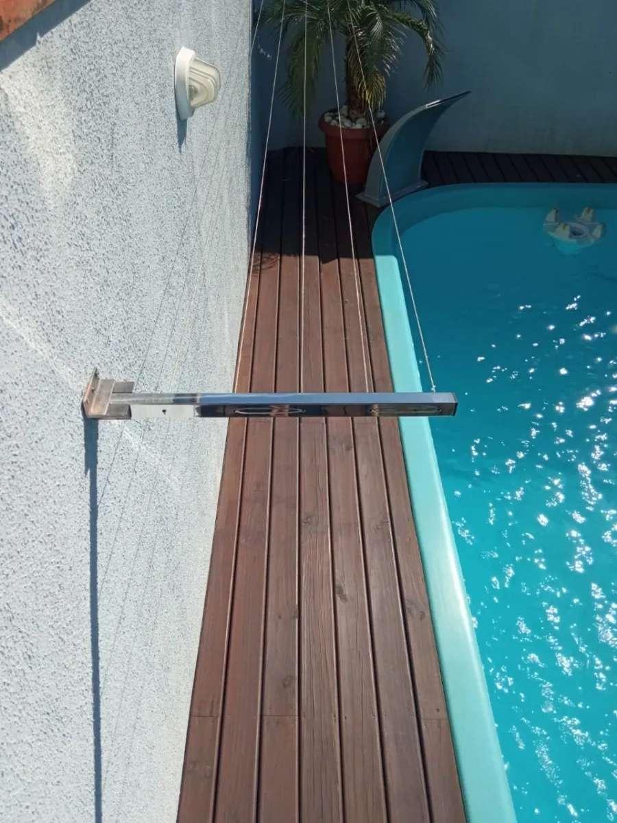 Varal de Parede Premium Inox 304 5 Cordas Cabo Revestido 4mt