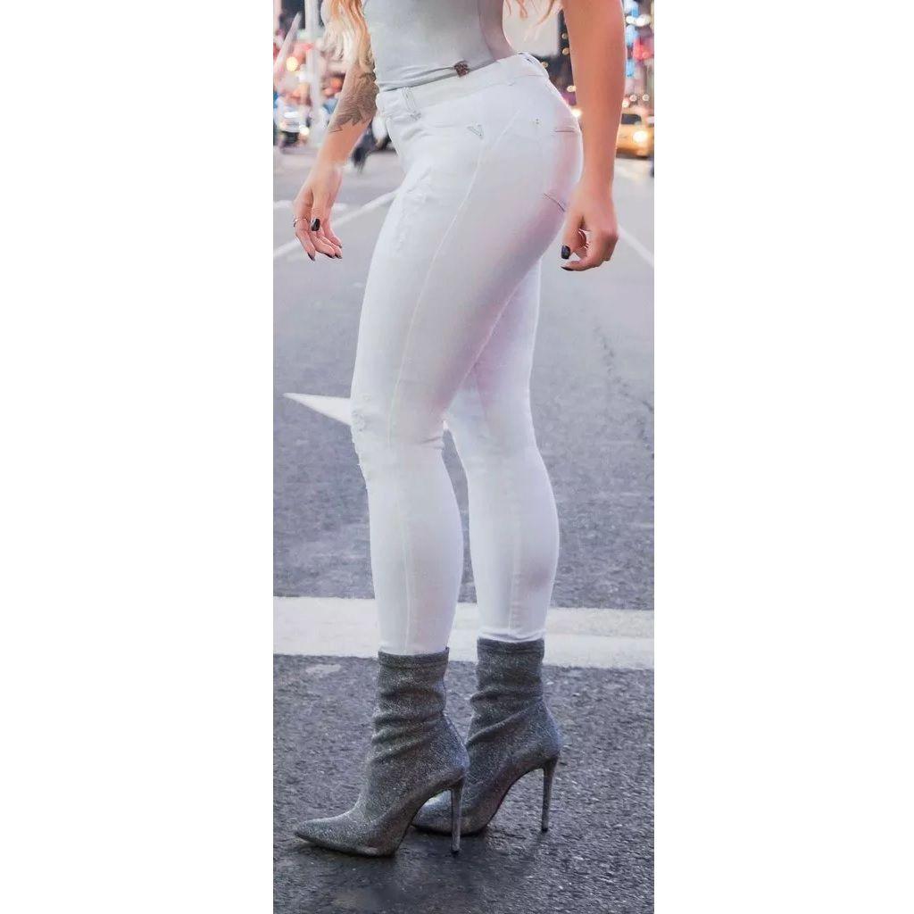 Calça Jeans Pitbull Feminina  com Bojo Regulavél 26650 Branca