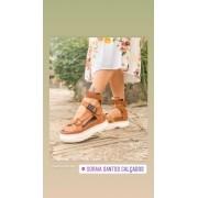 Sandália Papete Chic Hip Caramelo Moda 2021