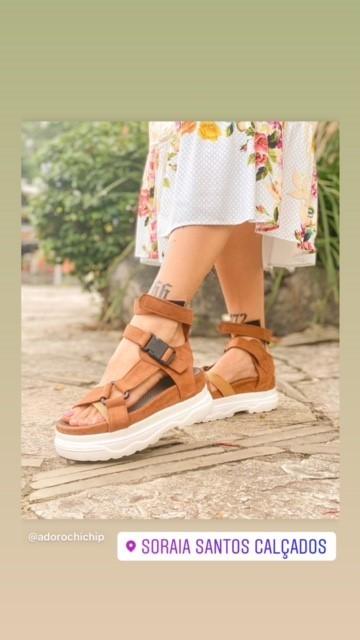 Sandália Papete Boho Chic Hip Caramelo