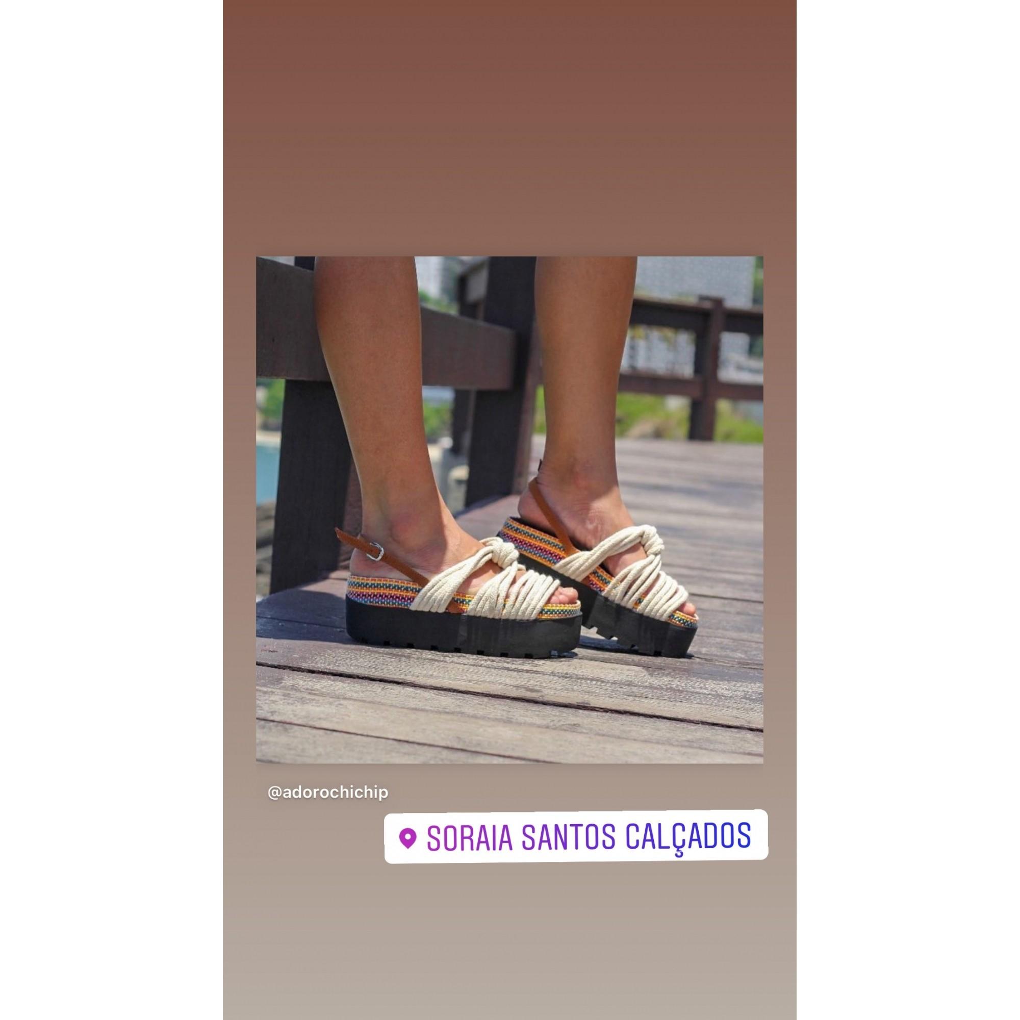 Sandália Papete Chic Hip Corda Natural Moda 2021
