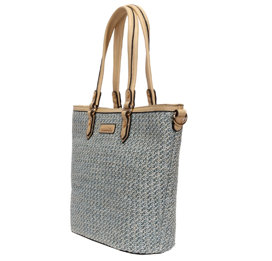 BOLSA SHOPPING BAG PALHA AZUL WJ