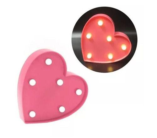 Luminária Enfeite Coração Em Led - Rosa