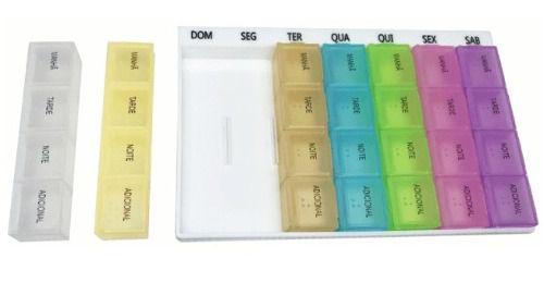 Caixa Comprimido Porta Medicamento Remédio Semanal 4x Dia
