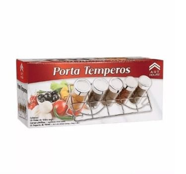 Porta Condimentos / Temperos Com 5 Potes Em Vidro Mod 1