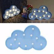 Luminária Enfeite Nuvem Em Led Azul