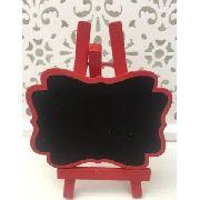 Mini Lousa Cavalete Quadro Negro 8.5x12cm Vermelho