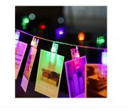 Cordão Varal Pregador Clipe Luminoso Em Led Para Foto Colorido
