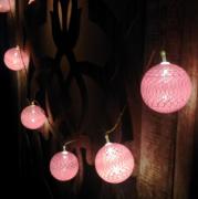 Luminária Cordão Fio De Luz 10 Bolas De Led - Rosa