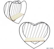 Prateleira Decorativa Coração Aramada/madeira 31,5x31x9,8cm