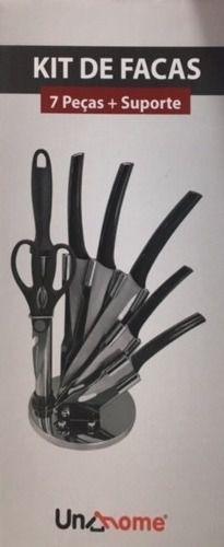 Conjunto De Facas Em Aço Inox Com 7 Peças + Suporte