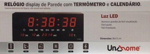 Relógio Led Display De Parede C/ Termômetro E Calendário