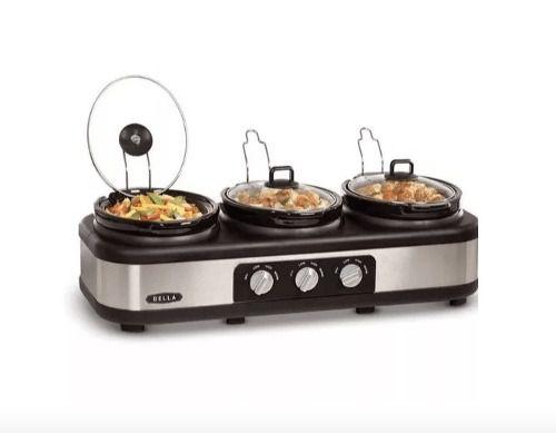 Triplo Buffet Slow Cooker Rechaud Bella - Aço Inox