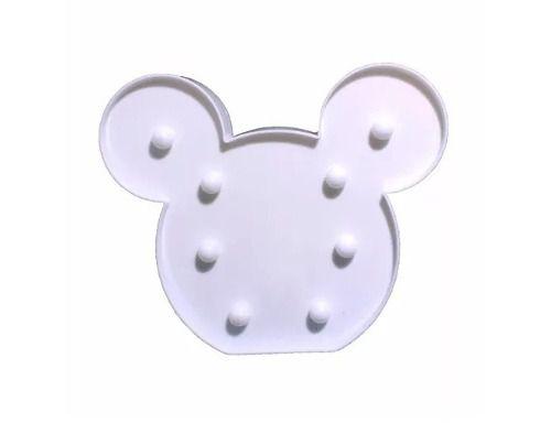Luminária Enfeite Cabeça Mickey Em Led + 2 Pilhas Aa