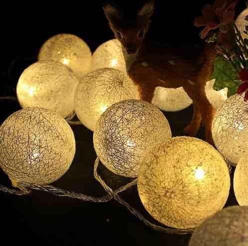Luminária Cordão Fio De Luz 10 Bolas De Led Decoração - Branco