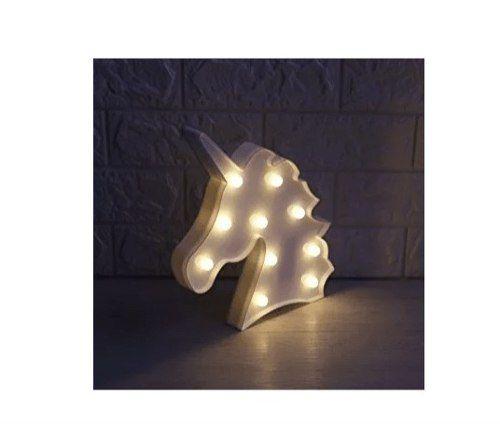 Luminária Enfeite Cabeça Unicórnio Em Led