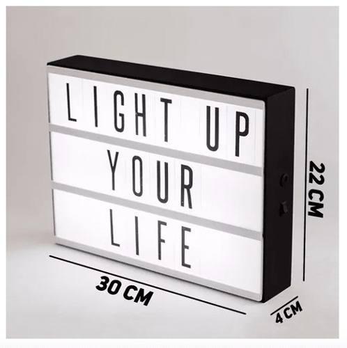 Luminária Light Box Led Cinema A4 + 96 Letras Números Ícones