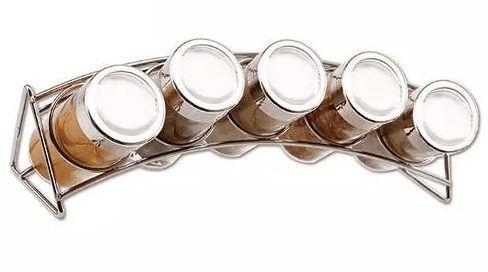 Porta Condimentos / Temperos Com 5 Potes Em Vidro