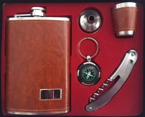 Kit Cantil Porta Bebidas Para Whisky Vodka Canivete Multiuso