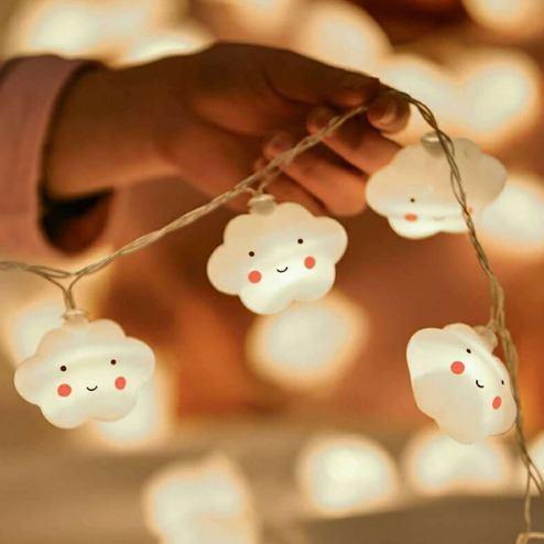 Luminária Cordão Fio De Luz 10 Nuvens Feliz De Led Decoração
