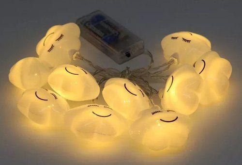 Luminária Cordão Fio De Luz 10 Nuvens De Led + 2 Pilhas Aa
