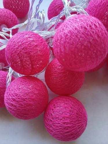 Luminária Cordão Fio De Luz 10 Bolas De Led Decoração - Pink